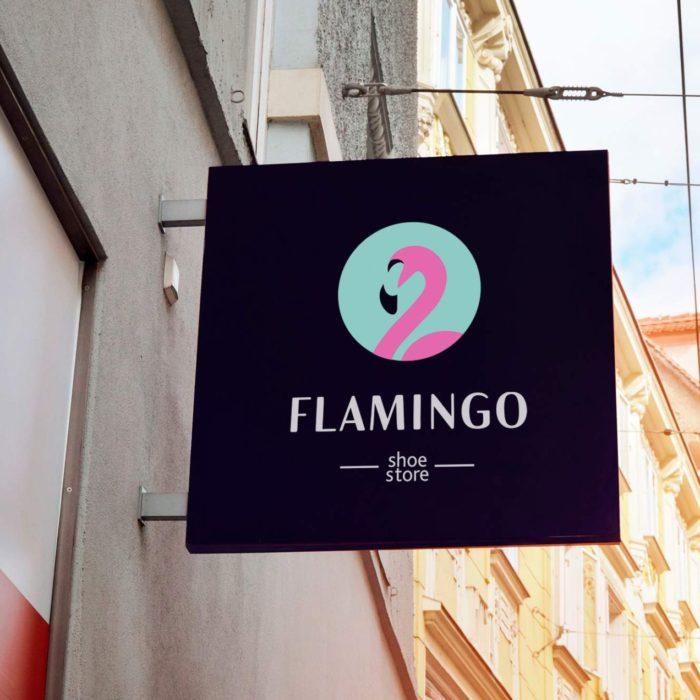 """Логотип и айдентика салона обуви """"Фламинго"""""""